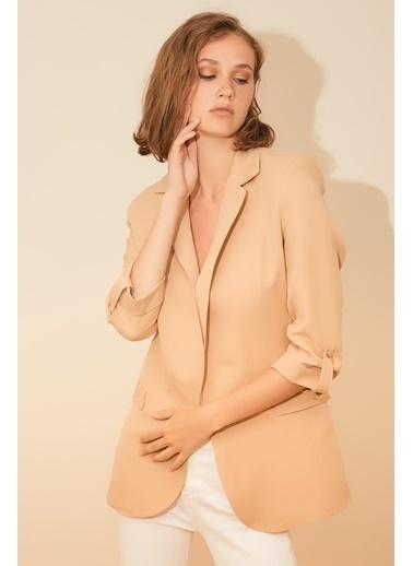 Reyon Çift Cep Kadın Blazer Ceket Taba Bej
